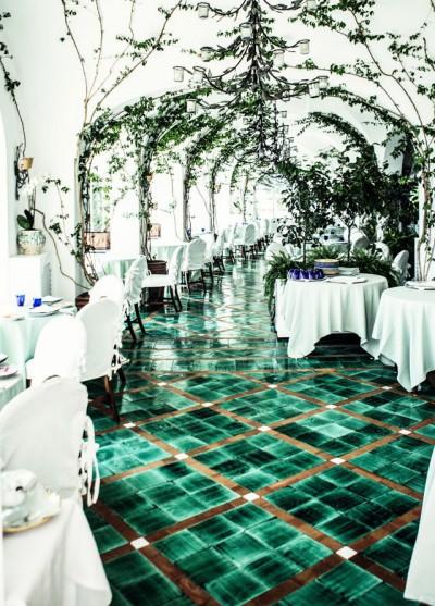 green tile floor